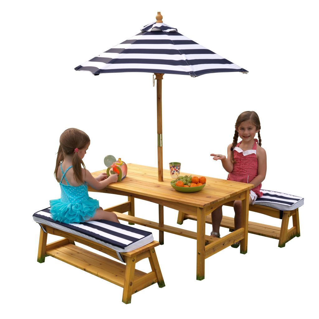 ZZKK00106 Outdoor Table & Bench Set with Cushions & Umbrella - KidKraft  002