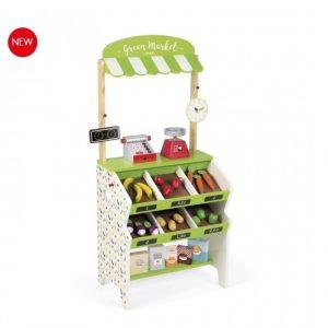 J06574 Janod Green Market Grocery Shop Play Set  001