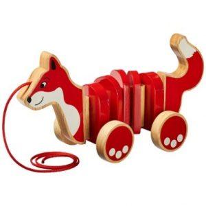 lanka kade pull along fox wooden toy