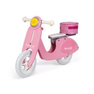janod mademoiselle pink scooter wooden balance bike