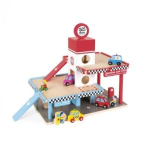 wooden janod toy garage gas station